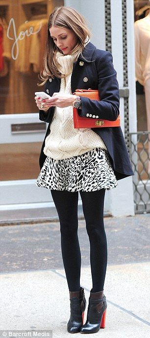 Olivia Palermo pulls off the short skirt and opaque tights combo winningly