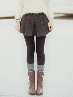 Wool skirt, thick tights, leg warmers, mid-calf boots = perfect cute/warm day look!